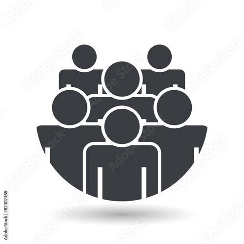 Crowd of people - icon silhouettes vector illustration - 82402369