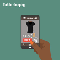 Shopping with smartphone. . Electronic commerce.