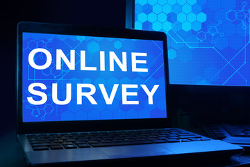 Computer with words online survey.