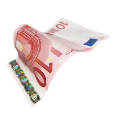 10 ten Euro banknote isolated on white background