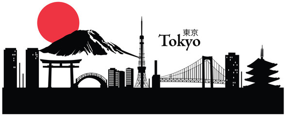 Vector illustration of cityscape of Tokyo, Japan