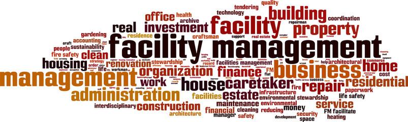 Facility management word cloud concept. Vector illustration