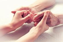 "Постер, картина, фотообои ""Care is at home of elderly. Hands senior man and caregiver."""