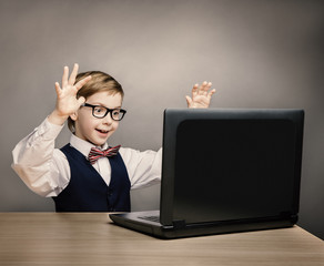 Child With Laptop, Little Boy in Glasses Looking at Computer