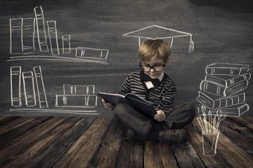 Child Little Boy in Glasses Reading Book, Kids School Education