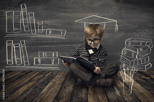 Child Little Boy in Glasses Reading Book, Kids School Education Poster