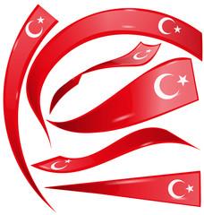 turkey set  flag isolated on white