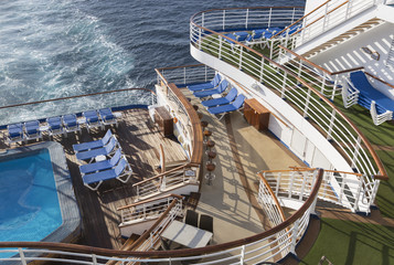 Abstract of Cruise Ship Deck, Pool and Chairs