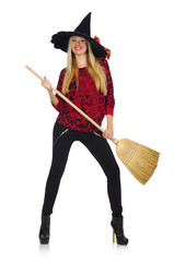 Funny witch with broom isolated on white