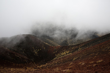 Scenery and lava fields of Mt. Etna volcano
