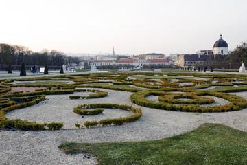 The Baroque park by Belvedere in Vienna, Austria