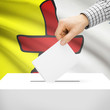 Ballot box with Canadian province flag on background - Nunavut