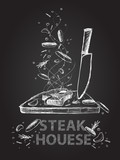 Steak house quotes chalkboard illustration