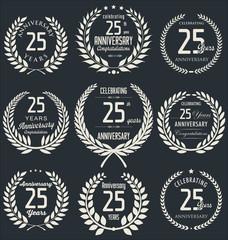 Anniversary golden laurel wreath design, 25 years