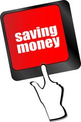 saving money word on laptop keyboard key, business vector