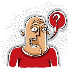 Discussion concept, conversation idea. Illustration of a man tal