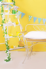 Easter yellow studio decor