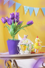Violet tulips on table with cage and chicken