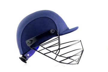 Close up of Blue Cricket Helmet on White Background