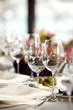 Close up picture of empty glasses in restaurant. Selective focus - 82419717