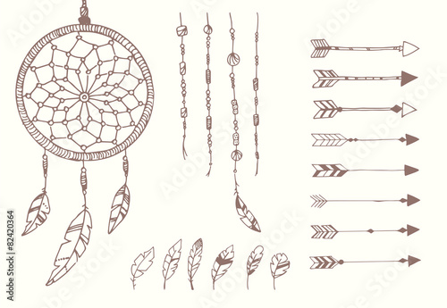 Hand drawn native american feathers, dream catcher, beads - 82420364