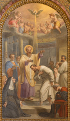 Rome - Freso of Baptism of st. Augustine ad st. Ambrose