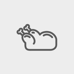 Raw chicken thin line icon