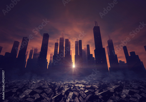 City and ruins - 82420957