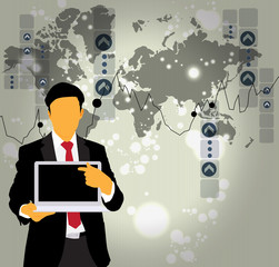 Silhouette of businessman with laptop