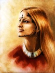 young enchanting woman with long wavy hair, ornamental tattoo