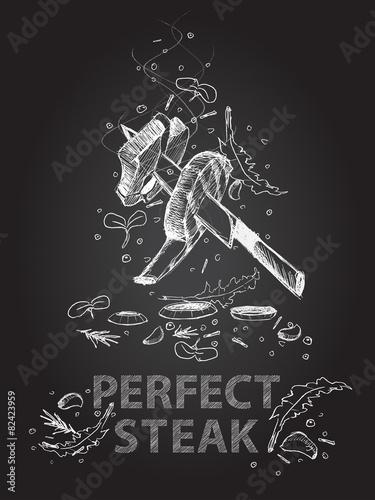 Perfect steak quotes chalkboard illustration  - 82423959