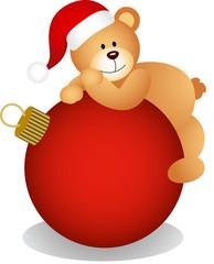 Teddy bear on Christmas ball
