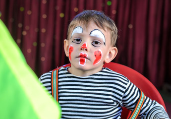 Cute Kid with Mime Makeup for Stage Play