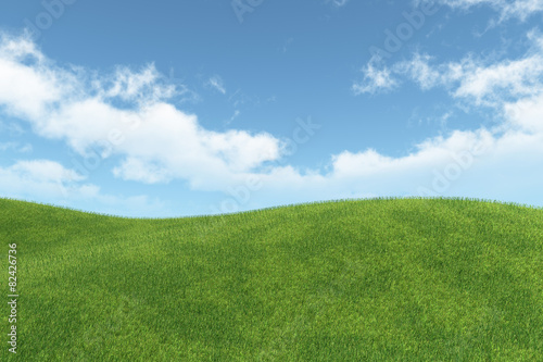landscape with green meadow and blue sky with white clouds