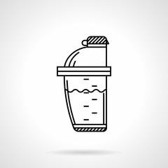 Protein shaker black line vector icon