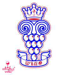 Grape vine illustration with royal crown – winery or racematio