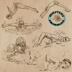 swimming - hand drawn vector pack