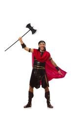 Gladiator holding ax isolated on white