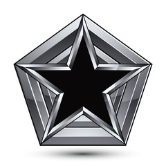 Silvery blazon with pentagonal black star, can be used in web an