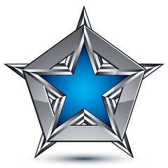 Silvery blazon with pentagonal blue star, can be used in web and