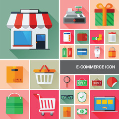 Ecommerce icon set collection with flat and long shadow design