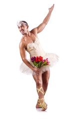 Man in tutu performing ballet dance