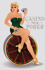 Casino poker sensual pin up girl, vector illustration