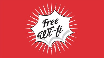 Free wifi label on red background, Video animation, HD 1080