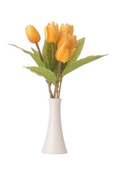 Vase with colourful tulips on white