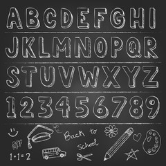 Hand drawn trendy letters alphabet back to school elements