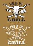 Barbecue vector design with clean and grunge versions