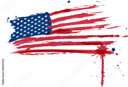 Usa flag in water colors