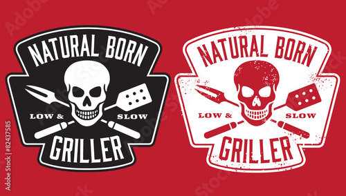 Fototapeta Barbecue vector design with clean and grunge versions