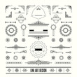 Set of linear thin line art deco retro vintage design elements - 82441994